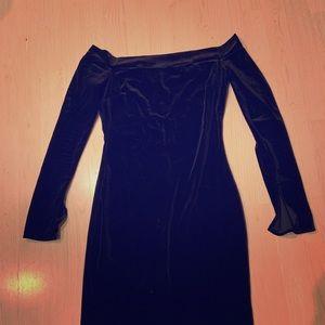 Black Velvet Off Shoulder Dress small